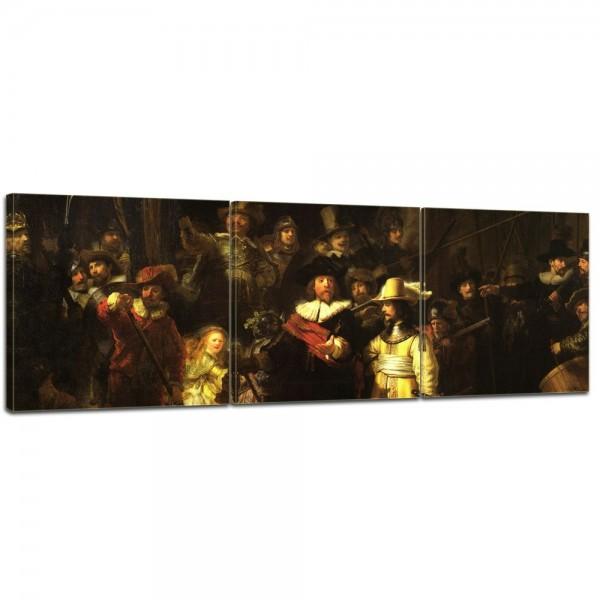 SALE Leinwandbild - Rembrandt - Die Nachtwache - 120x40 cm 3tlg