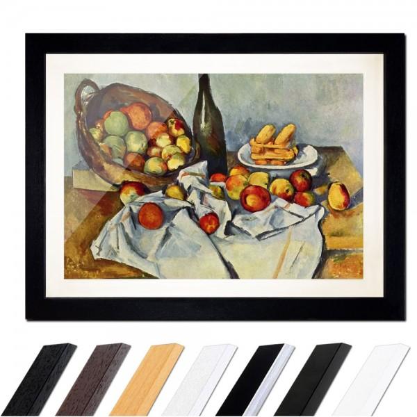 Paul Cézanne - Stillleben mit Flasche und Apfelkorb