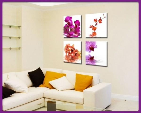 Leinwandbild Set 4 teilig Blumen - Orchideen