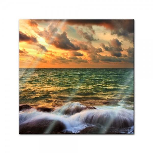 Glasbild - Tropical Sunset