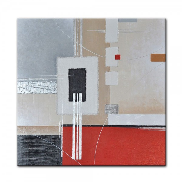 Abstrakte Kunst M5 handgemaltes Leinwandbild 80x80cm - 4cm Galerierahmen! - 805