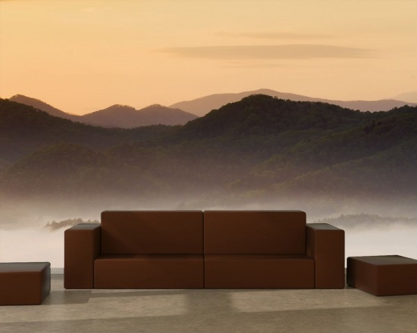 SALE Fototapete Nebliges Tal und Berge im Sonnenuntergang - 155 x 100cm - farbig