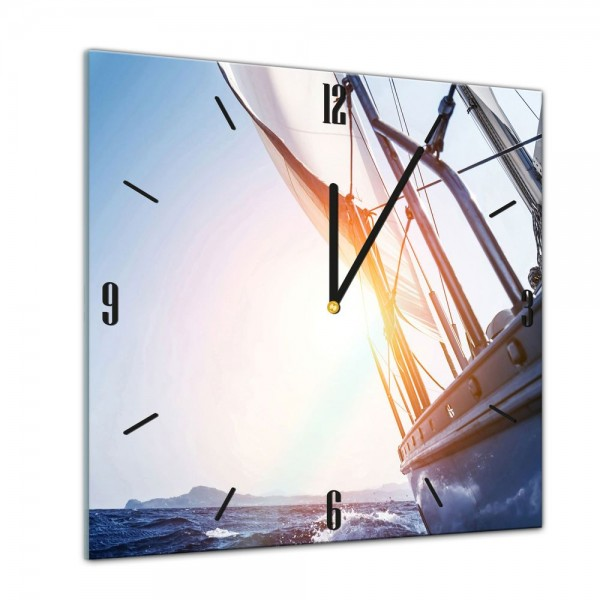 Glasuhr - Sonne, Strand und Meer - Yacht auf See II - 40x40cm