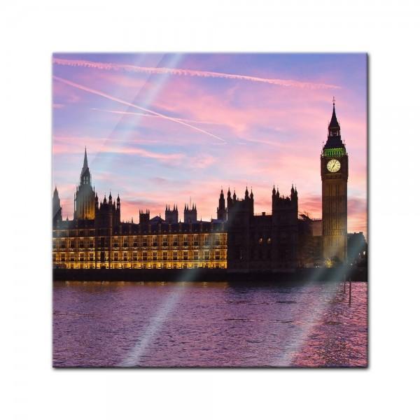 Glasbild - Big Ben an der Themse - London UK