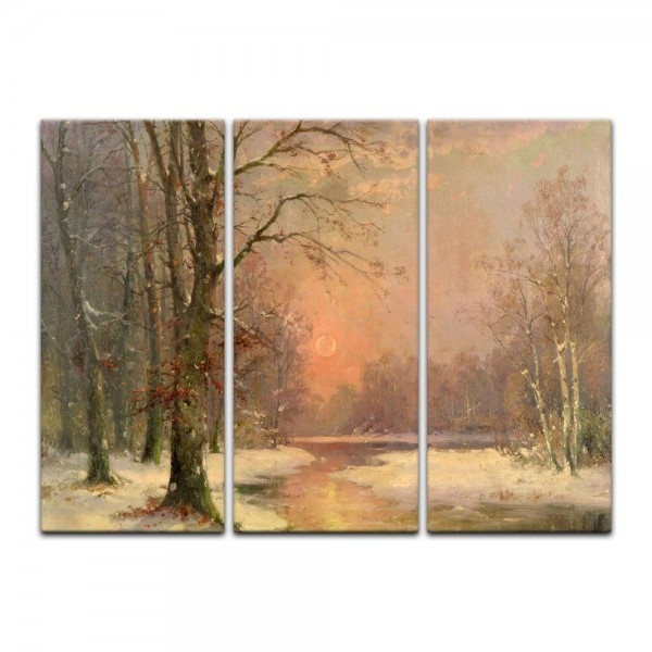Leinwandbild - Adolf Kaufmann - Sonnenuntergang in Winterlandschaft