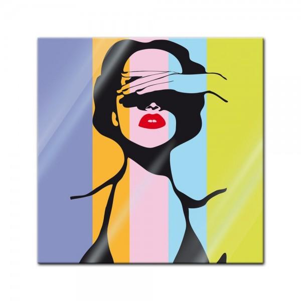 Glasbild - Retro Frau Pop Art Stil