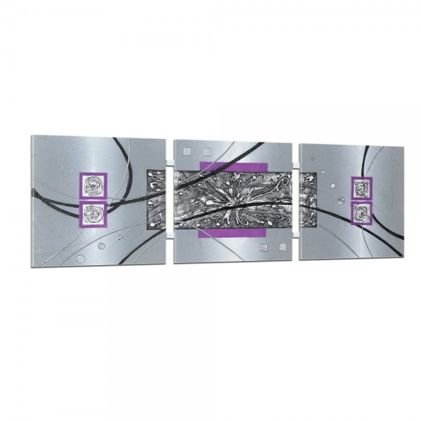 Abstrakte Kunst handgemaltes Wandbild 104x33cm - 3D Struktur - 4003