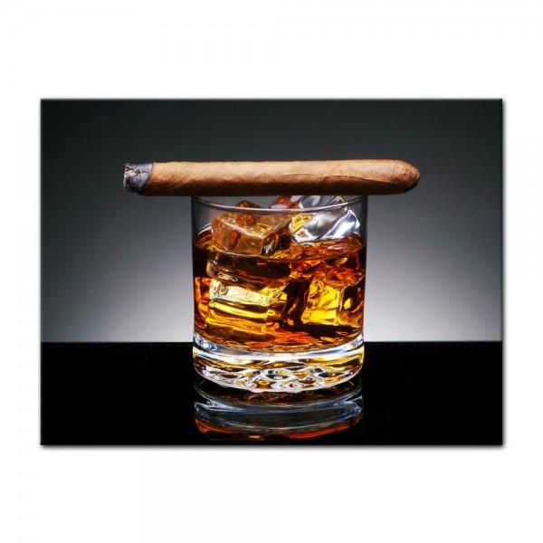 Leinwandbild - Zigarre am Drink
