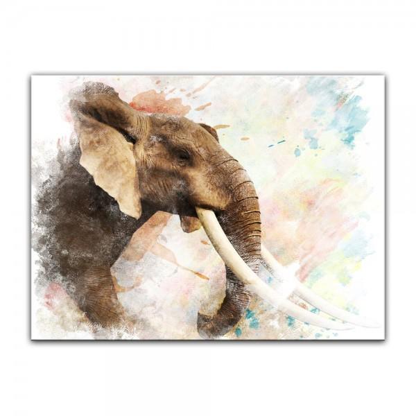 Leinwandbild - Aquarell - Elefant