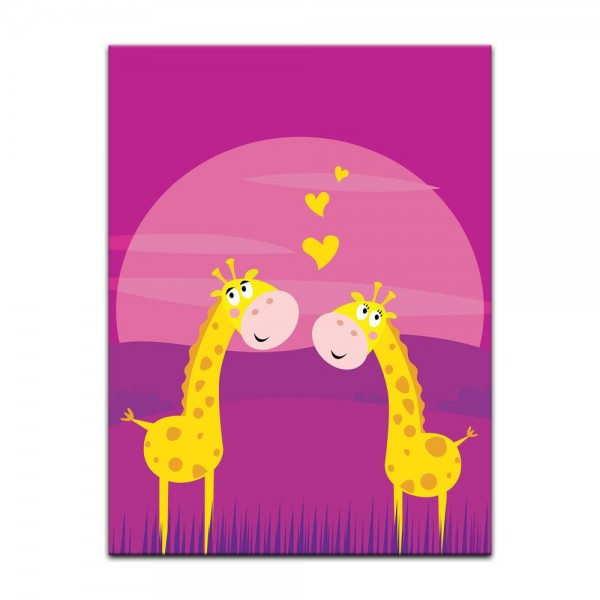 Leinwandbild - Kinderbild - verliebte Giraffen Cartoon