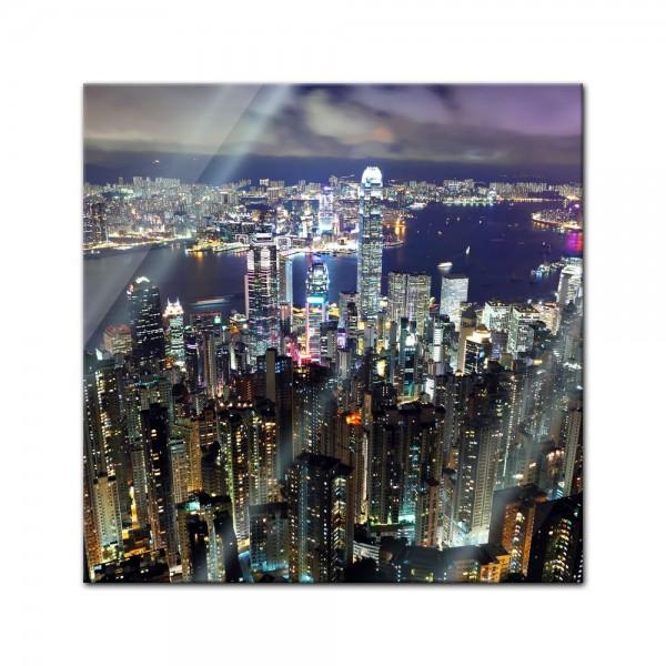 Glasbild - Hong Kong city at night