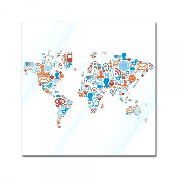 Glasbild - Weltkarte Piktogramme soziale Medien