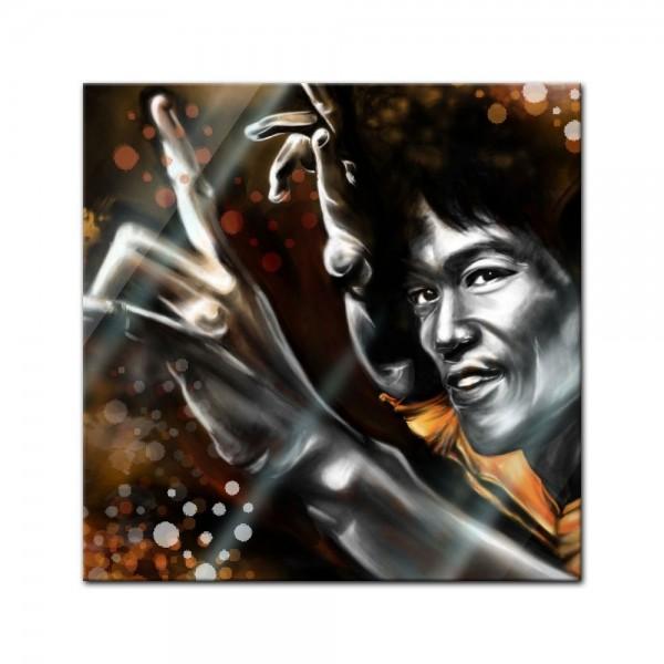 Glasbild - Bruce Lee in gelb