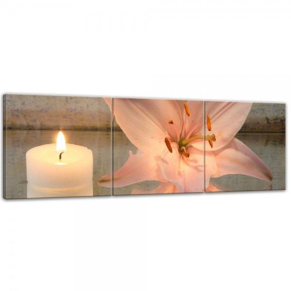 SALE Leinwandbild - Lilie und Kerze - 120x40 cm 3tlg
