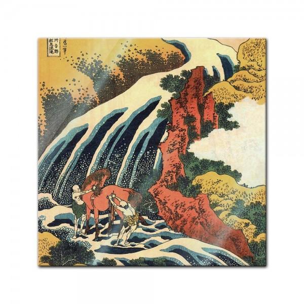 Glasbild Katsushika Hokusai - Alte Meister - Yoshitsune Umarai Wasserfall
