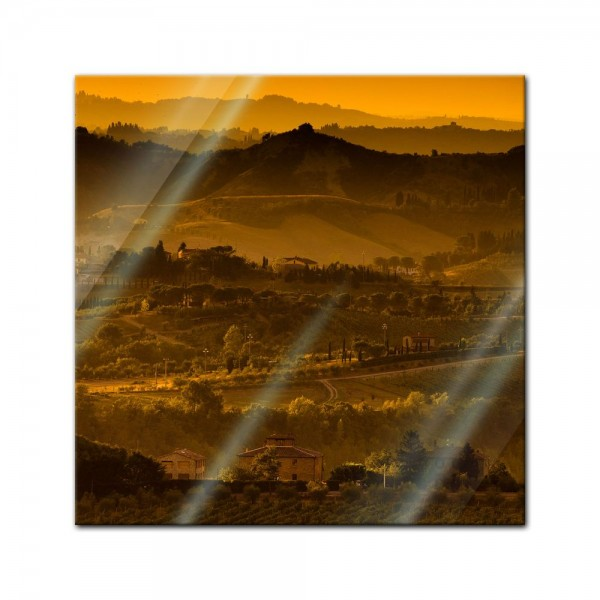 Glasbild - Toskana im Sonnenuntergang