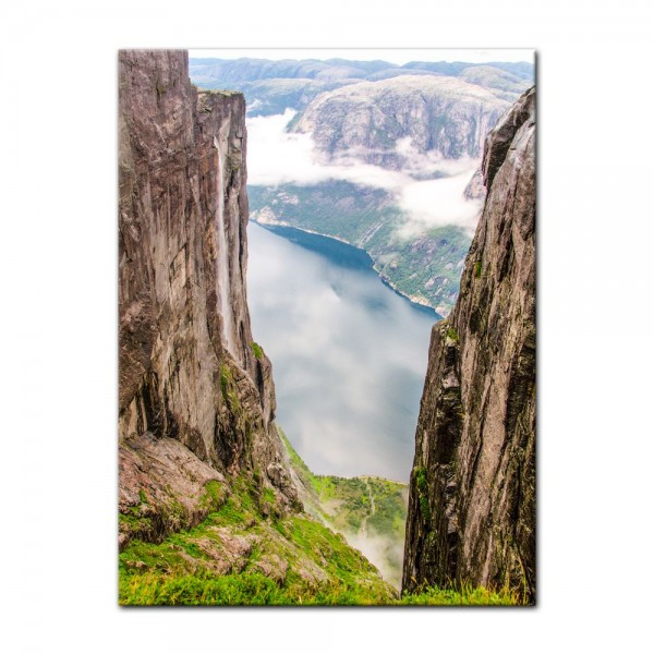 Leinwandbild - Blick auf Lysefjord vom Kjeragberg