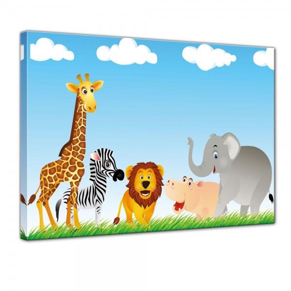 SALE Leinwandbild - Kinderbild - Tiere Cartoon VI - 120x90 cm