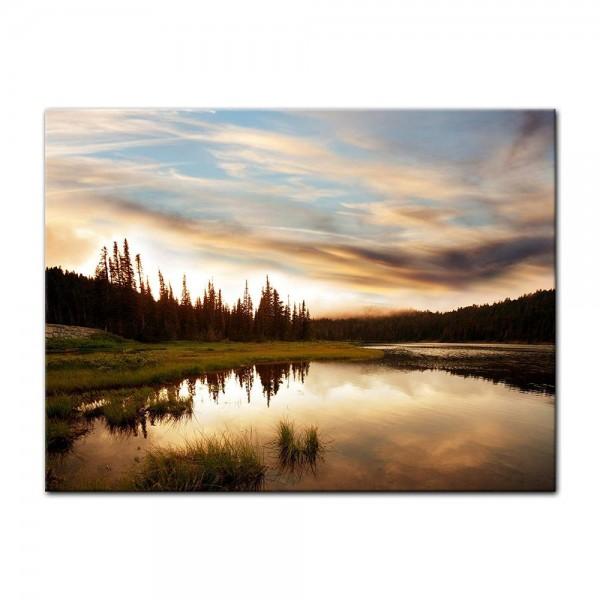 Leinwandbild - Sonnenuntergang am See