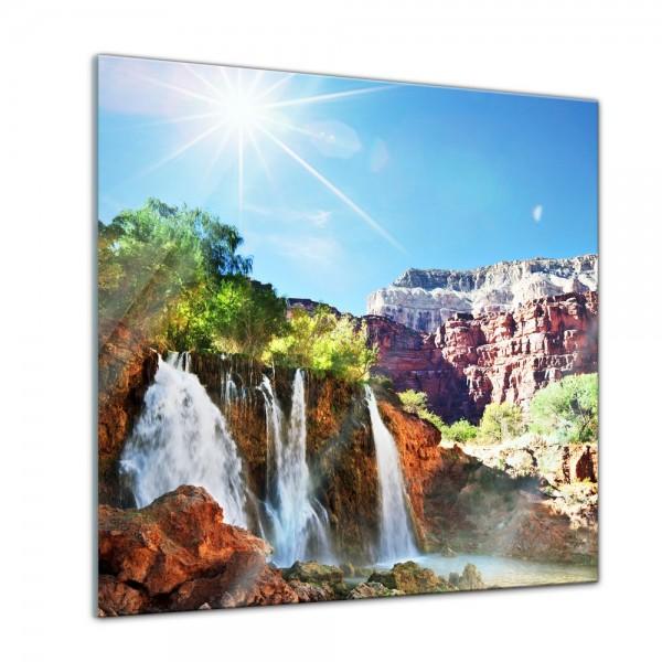 Glasbild - Tropischer Wasserfall