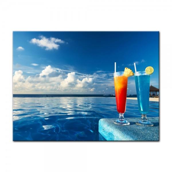 Leinwandbild - Cocktail am Swimmingpool