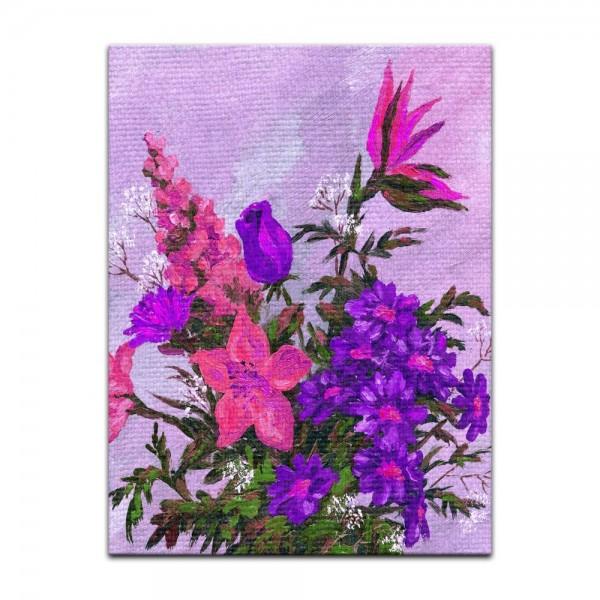 Leinwandbild - Lila Blumenstrauß