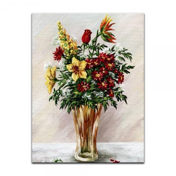 Leinwandbild - Blumenstrauß in einer Glasvase