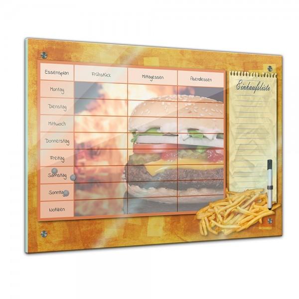 Memoboard - Familien Essensplaner - Burger und Pommes - quer