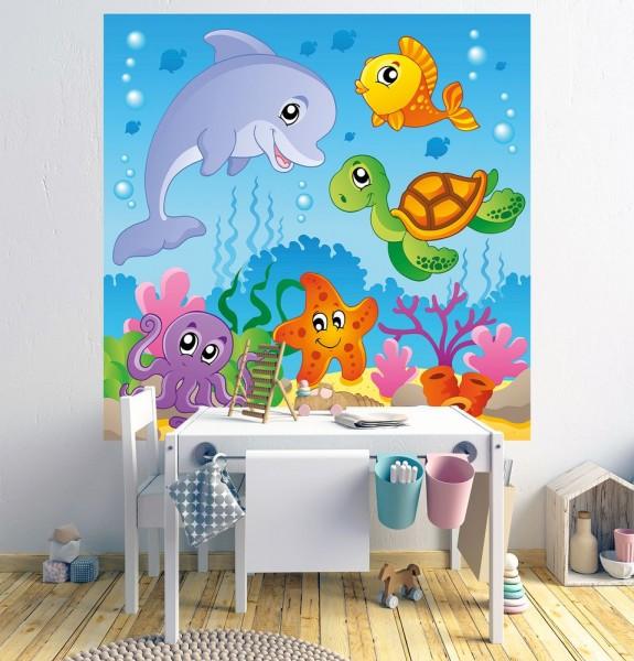 Fototapete - Kinderbild Unterwasser Tiere III