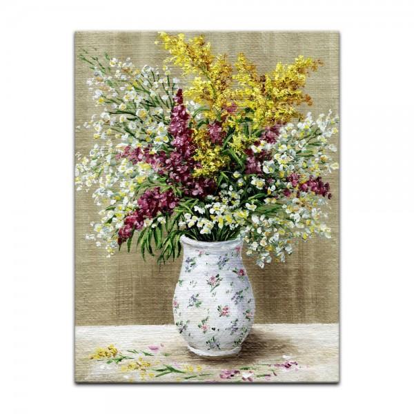 Leinwandbild - Wildblumen in weisser Vase