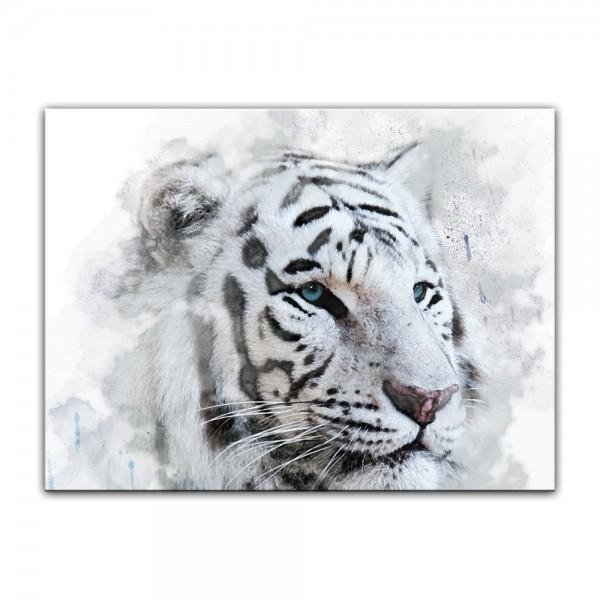 Leinwandbild - Aquarell - Weißer Tiger II