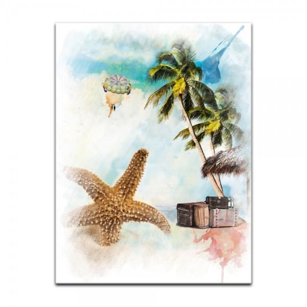 Leinwandbild - Reproduktion Aquarell - Urlaubszeit