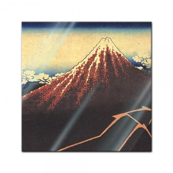 Glasbild Katsushika Hokusai - Alte Meister - Gewitter unterhalb des Gipfels