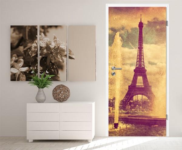 Türaufkleber Eiffelturm im Retrostyle - Paris Frankreich