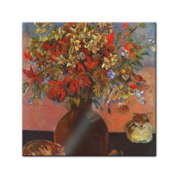 Glasbild Paul Gauguin - Alte Meister - Blumen und Katzen