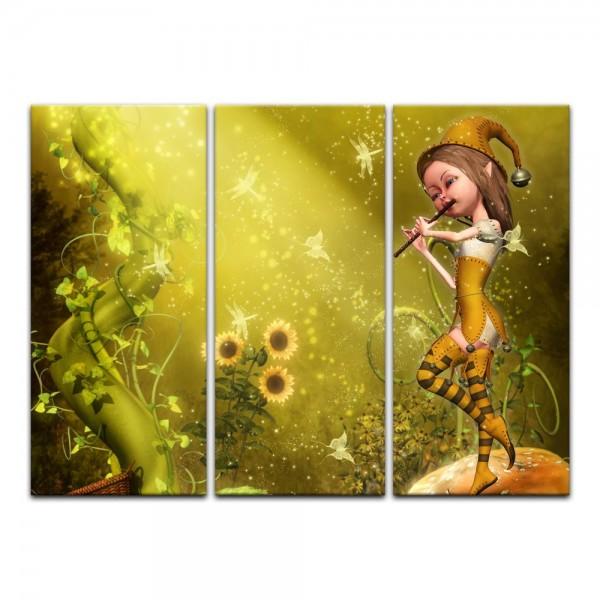Leinwandbild - Kinderbild - Elfe mit Flöte