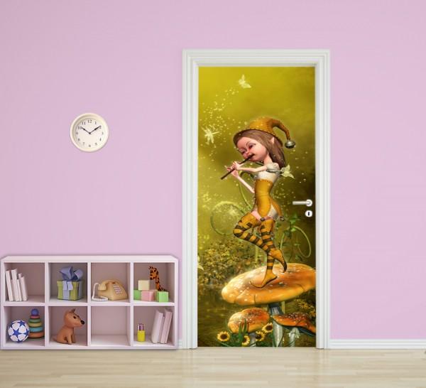 Türaufkleber - Kinderbild Elfe mit Flöte