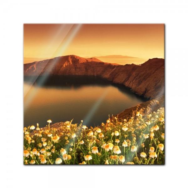 Glasbild - Sonnenaufgang über Santorini - Griechenland