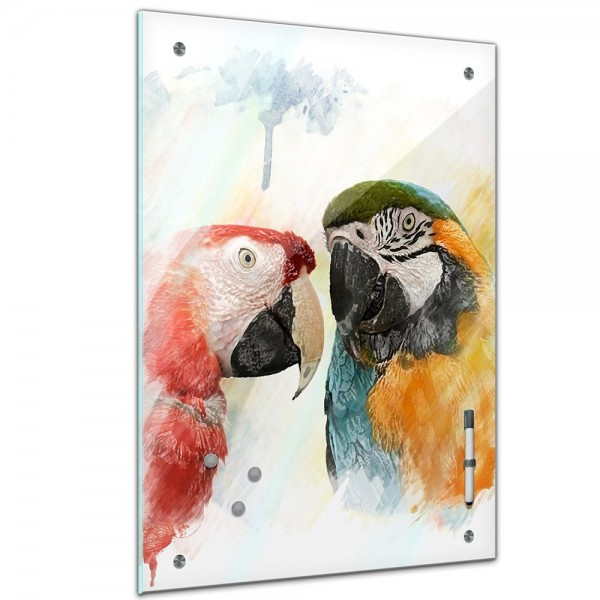 Memoboard - Tiere - Papageien Aquarell