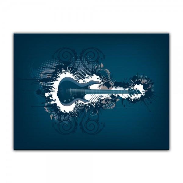 Leinwandbild - E-Gitarre Illustration - blau