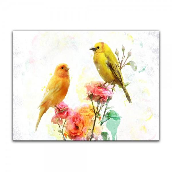 Leinwandbild - Aquarell - Kanarienvögel