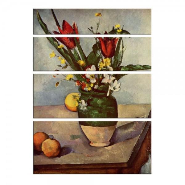 Leinwandbild - Paul Cézanne - Stillleben mit Tulpen und Äpfel