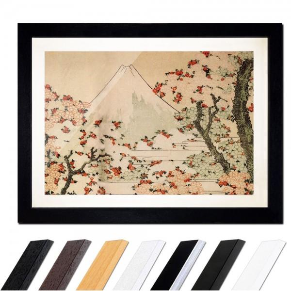 Katsushika Hokusai - Blick auf den Fujijama mit blühenden Kirschbäumen