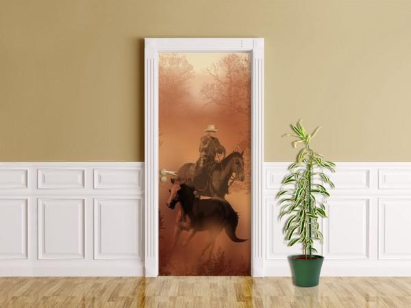 Türaufkleber - Cowboy mit Pferden
