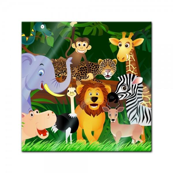 Glasbild - Kinderbild Wilde Tiere im Dschungel Cartoon