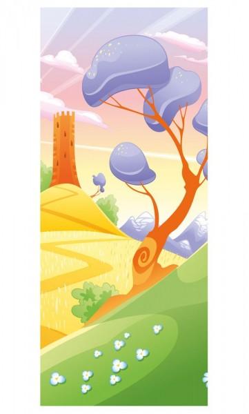 SALE - Türaufkleber - Kinderbild Phantasielandschaft 90x200 cm