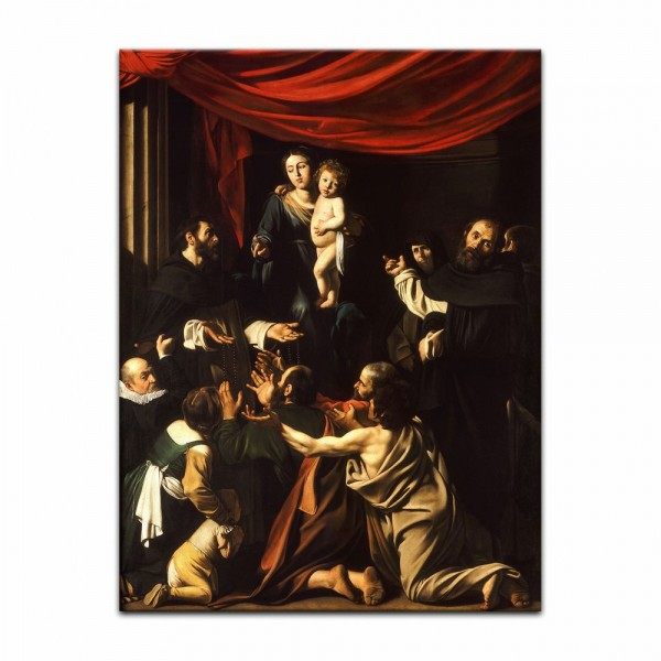 Leinwandbild - Caravaggio - Rosenkranzmadonna