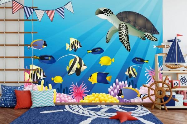 Fototapete - Kinderbild Unterwasser Tiere II