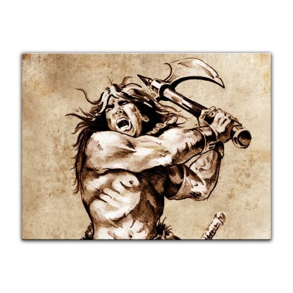 Leinwandbild - Krieger, Tattoo Art