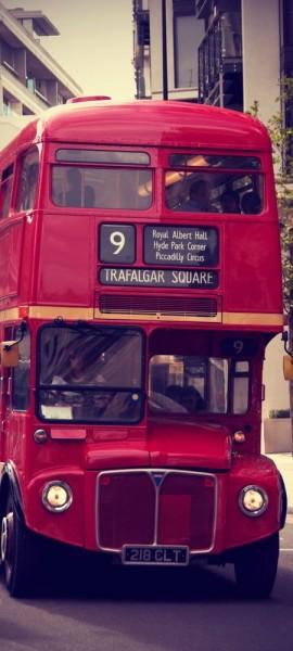 Türtapete selbstklebend Doppeldeckerbus Vintage 90 x 200 cm Bus Großbritanien London Straße Auto